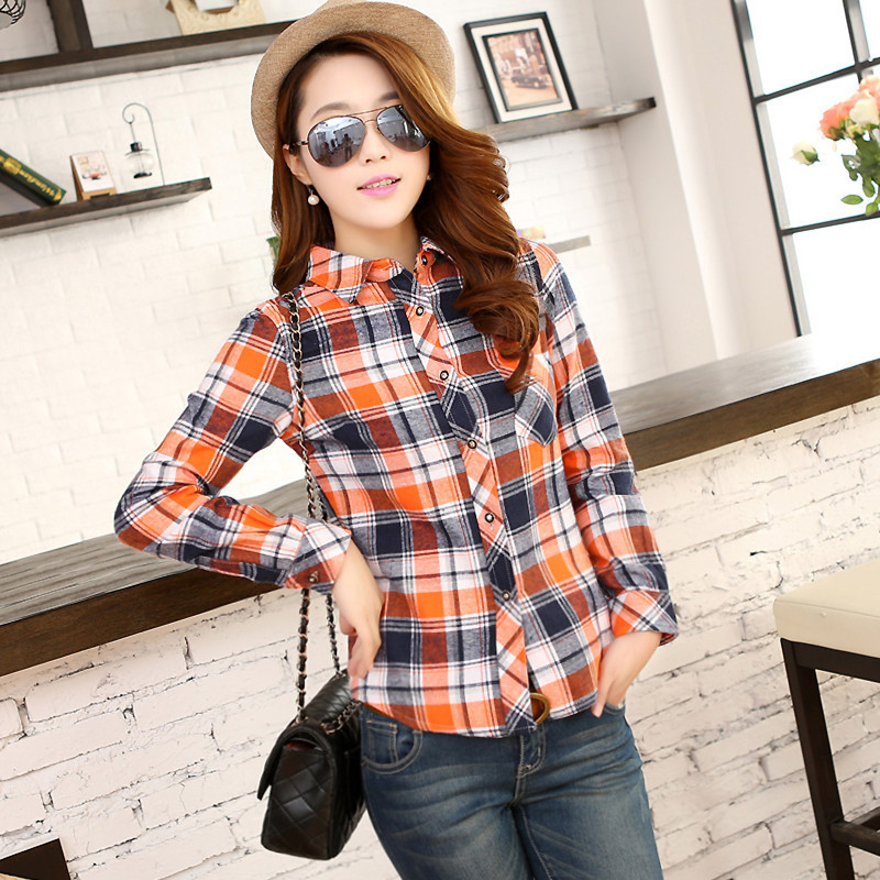 red Nice green Plaid H212811 New Blouse color Four Blue Tops Women Optional Temperament Shirt Slim orange wpdqx5fdZA