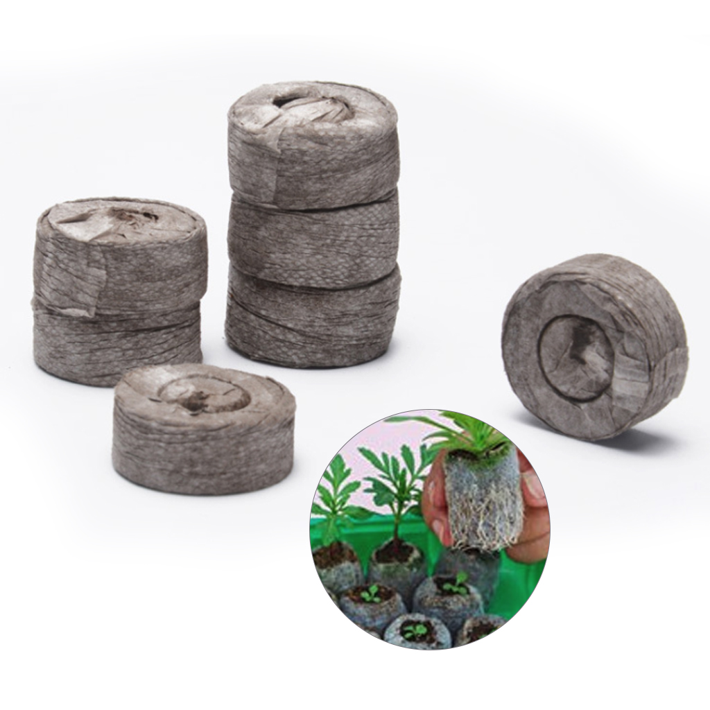 100pcs 30mm Peat Pellets Seed Starting Plugs Seeds Starter Round Pallet Seedling Soil Block Garden Plant Compressed Block Tool image