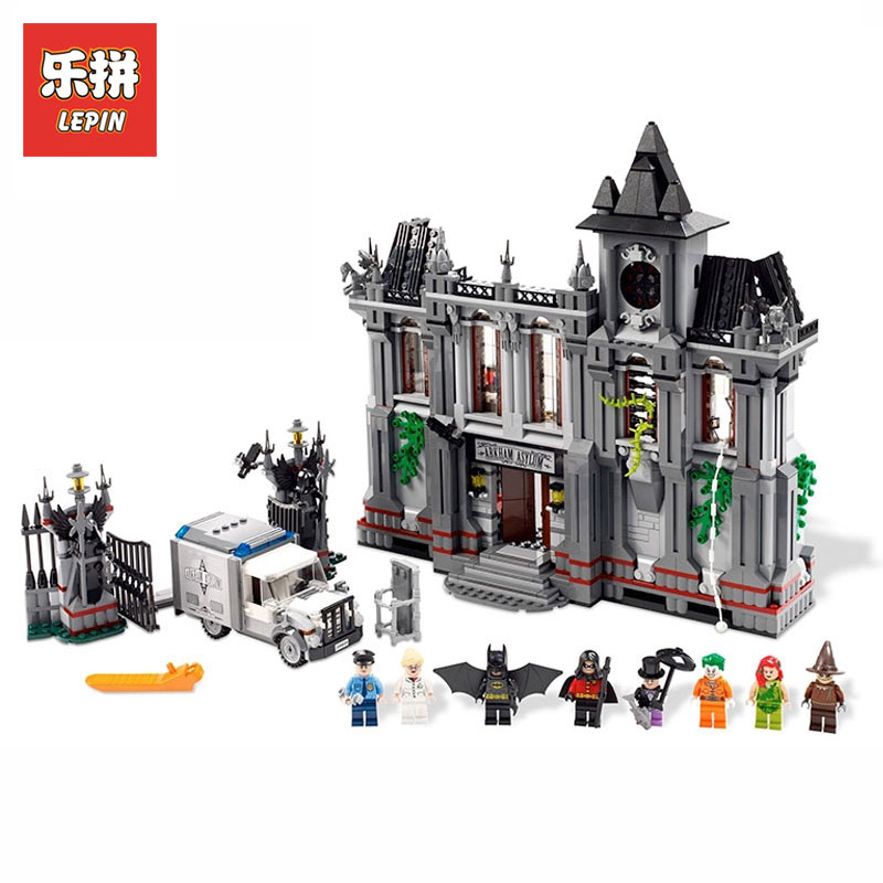 Lepin 07044 1685Pcs Super Hero Series Batman Asylums Set Children Model Building Blocks Bricks Educational Toy LegoINGlys 10937 new 1685pcs lepin 05036 1685pcs star series tie building fighter educational blocks bricks toys compatible with 75095 wars