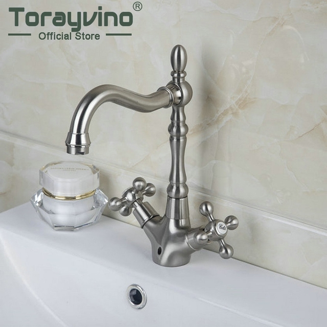 Antique Br Chrome Brushed Nickel Bathroom Sink Mixer Basin Faucets Retro 2 Handles 1