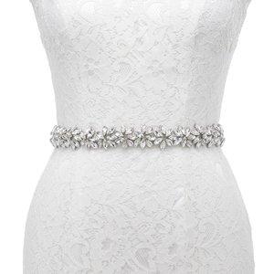 Image 1 - JLZXSY fait à la main fleur Design strass ceinture de mariage demoiselle dhonneur robe de soirée ceinture accessoires de mariage Brida ceinture