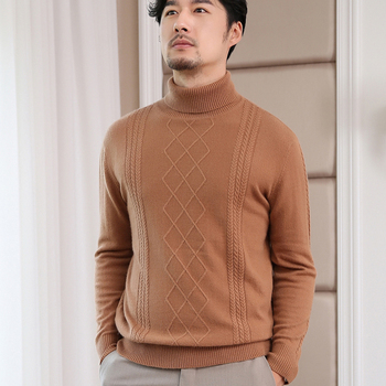 Hot Sale Turtleneck Men Sweaters 100% Pure Cashmere Knitted Jumpers Male Standard Clothes High Quality 6 Colors Soft Man Sweater