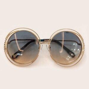 Image 3 - Nieuwe Stijl Ronde Zonnebril Vrouwen Luxe Merk Designer Grote Metalen Frame Zonnebril Vrouwelijke Shades 2019 Fashion Outdoor Eyewear