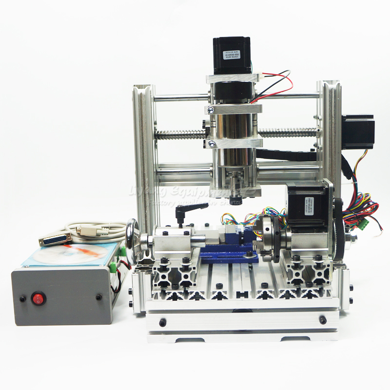 купить no tax to russia! DIY 2520 4axis Mini CNC router cnc lathe machine for wood, pcb, plastic carving and milling