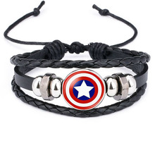 The Avengers Captain America Shield Deadpool Thor Batman Charms Bracelet Kids Boy Punk Multilayer Leather Bracelete Jewelry