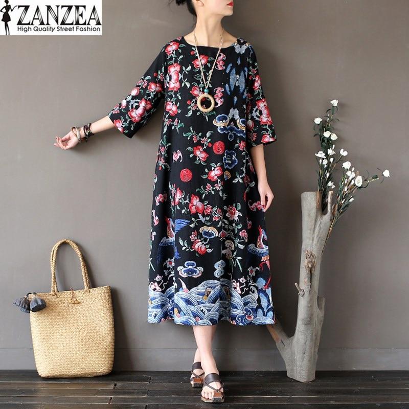 2018 ZANZEA Womes Vintage Floral Print Crew Neck 1/2 Sleeve Pockets Casual Party Long Shirt Dress Beach Vestido Plus Size