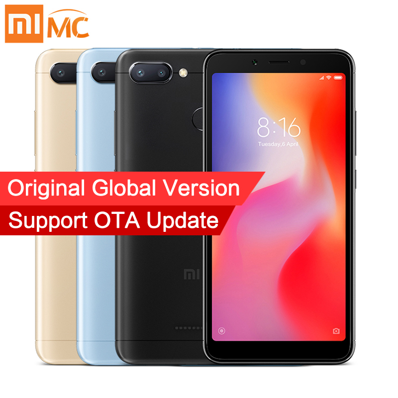 In Stock Global Version Xiaomi Redmi 6 3GB 32GB Mobile Phone MTK Helio P22 Octa Core 5.45 18:9 Full Screen 12MP+5MP Dual Camera