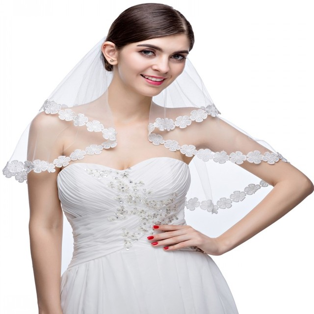 VAVL032 Fashionable Bridal Veil Two Layers White Tulle withApplique Edge Wedding Accessories Brand New Wedding Veils