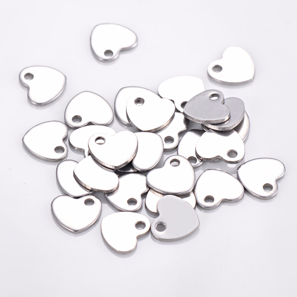 50pcs Stainless Steel Small Logo Heart Charm Jewelry Tags Makings Necklace Jewelry DIY Findings Tag For Logos Not Turn Off Color