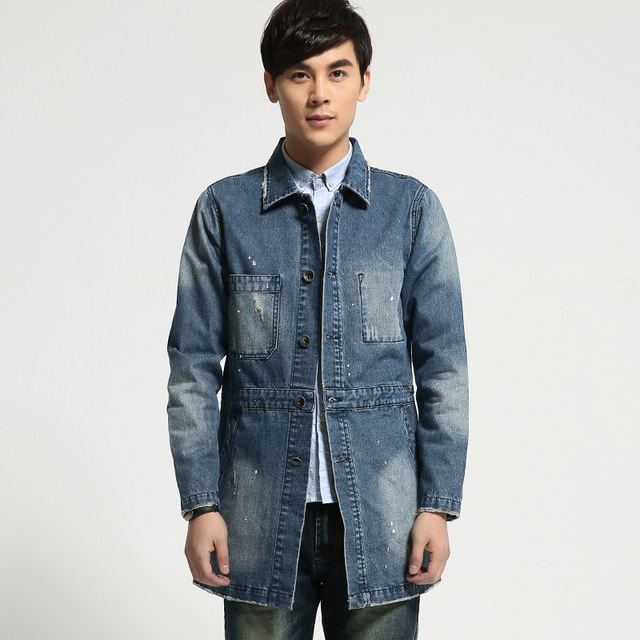 bd0f9ee5a83 Plus Size Men s Denim Jacket Long Section Slim Wash Cotton Frayed Fashion  Jeans Coat Men Distressed Male Tops