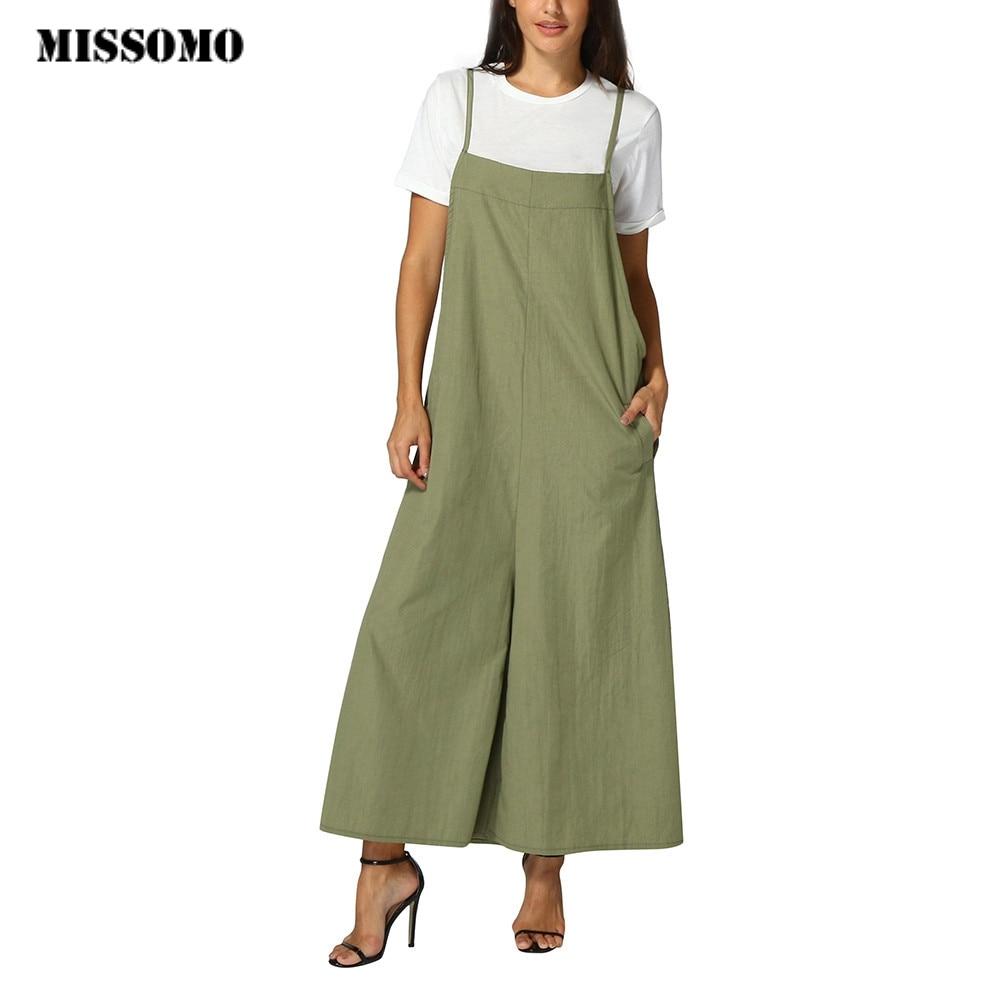 MISSOMO Women Summer Sleeveless Pockets   Jumpsuits   Overalls 5XL Bib Pants Dungaree Trousers Linen Harem Pants