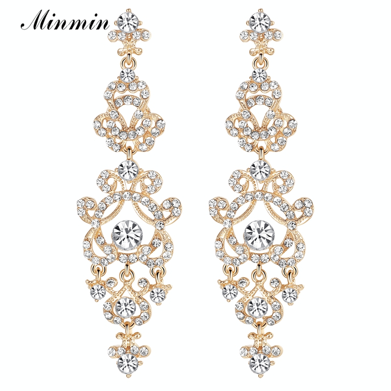 Minmin Crystal Silver/Gold-color Bridal Long Earrings Wholesale Free - Fashion Jewelry