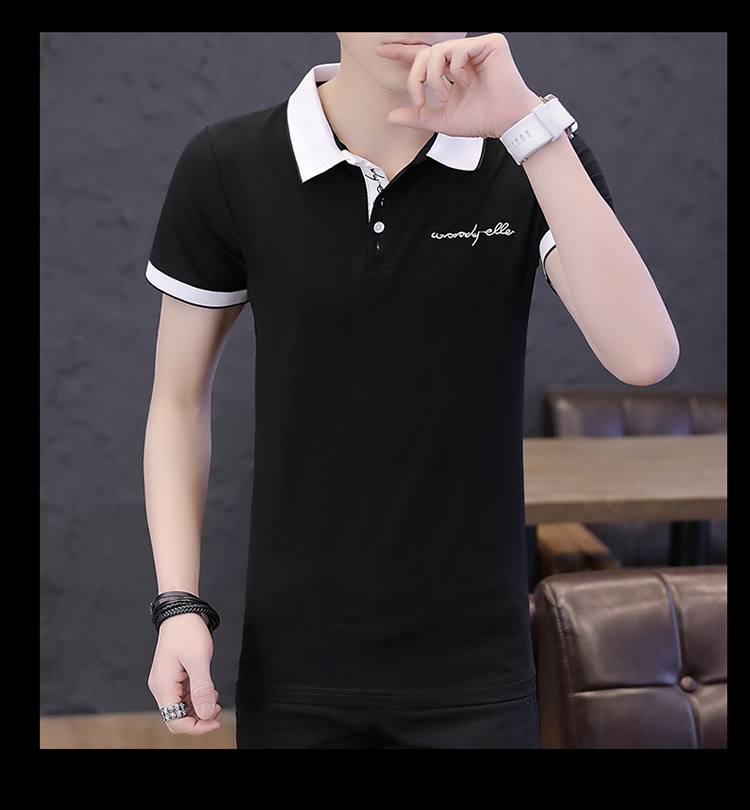 2019 men splicing t-shirts with short sleeves Comfortable in summer youth leisure lapel t-shirts 21