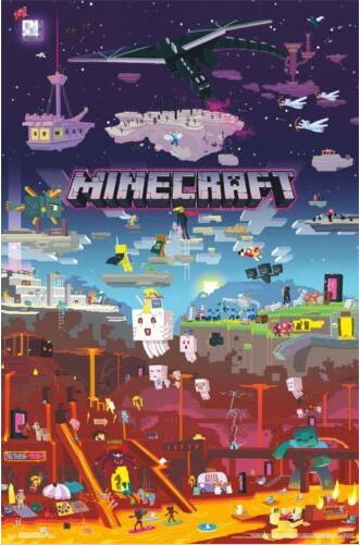 MINECRAFT - WORLD BEYOND  Silk Poster Wall Decor Room Painting 24X36Inch