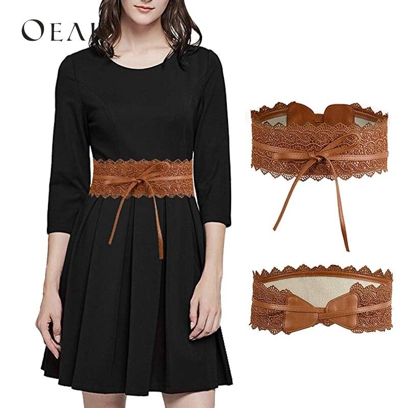 Oeak Fashion Women Dress Bowknot Luxury   Belt   Faux Leather Lace Wide Decor   Belt   Girdle Waist Band cinturon mujer