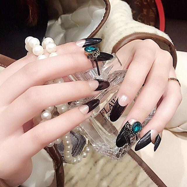 24pcs Long French Nail Art Tips Classic Black Glitter 3d Crystal