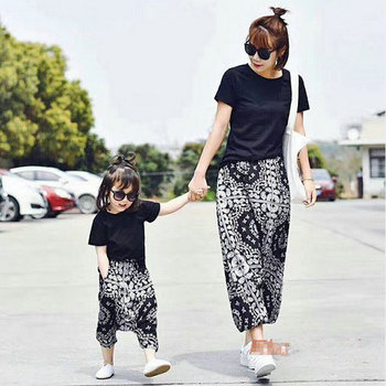 Family Matching Mother Daughter Clothing Sets Tops+ Shorts Sets Mom and Daughter Harem Loose Pants Boho Hippie Pants Suit CE801 Family Matching Outfits