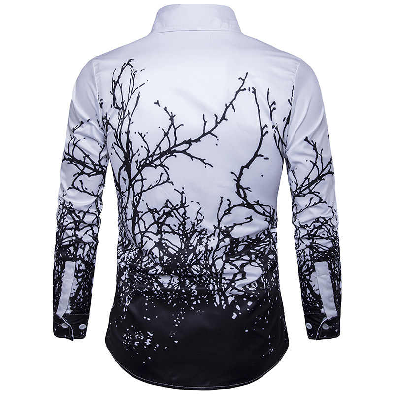 2019 럭셔리 인쇄 셔츠 남성 블랙 화이트 긴 소매 캐미 사 Masculina 슬림 피트 Chemise 옴므 사회 셔츠 남성 M-3XL