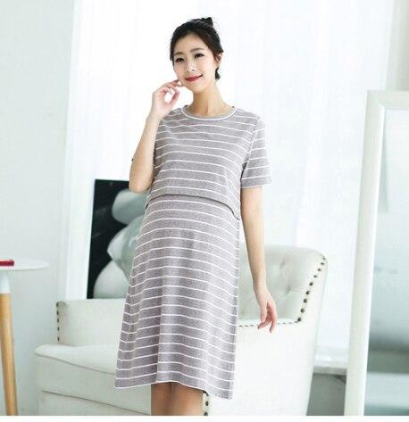 e44cdc66638c4 2019 grey striped short-sleeve maternity nursing dress pregnant women  Korean style breastfeeding knitting cotton casual dress