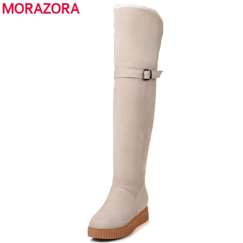 MORAZORA 2020 Long snow boots women platform shoes woman winter boots fashion warm flock solid women