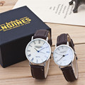 2 шт модные часы влюбленные часы пара высокоглянцевых стеклянных кожаных ремней часы набор содержит коробку влюбленных Кварцевые Бизнес на...