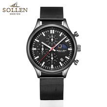 SOLLEN Mens Watches Top Brand Luxury Quartz Gold Watch Men Casual Steel Military Waterproof Sport Wrist Watch Relogio Masculino