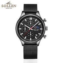 SOLLEN relojes para hombre, de cuarzo, dorado, informal, de acero, militar, resistente al agua, reloj de pulsera deportivo, Masculino