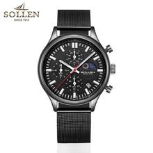 Sollen Heren Horloges Top Brand Luxe Quartz Gouden Horloge Mannen Casual Staal Militaire Waterdichte Sport Polshorloge Relogio Masculino