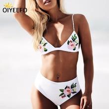 Oiyeefo Floral Embroidery Bikini High Waisted Bathing Suit Women White Beach May Bathers Women's Swimsuit Swimwear Female Plavky