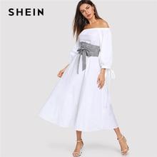 926ba6a1c SHEIN blanco Highstreet Oficina señora linterna manga Bardot hombro tela  escocesa con cinturón 2018 otoño mujeres vestidos Casua.
