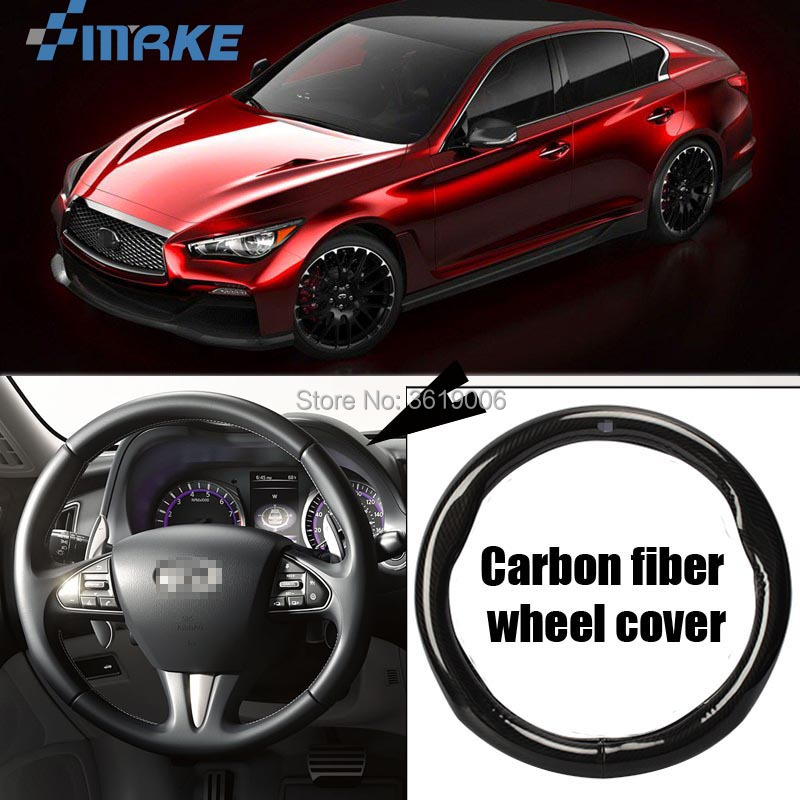 smRKE Car Accessories For Infiniti Q50 Black Carbon Fiber Leather Steering Wheel Cover Sport Racing Car Styling