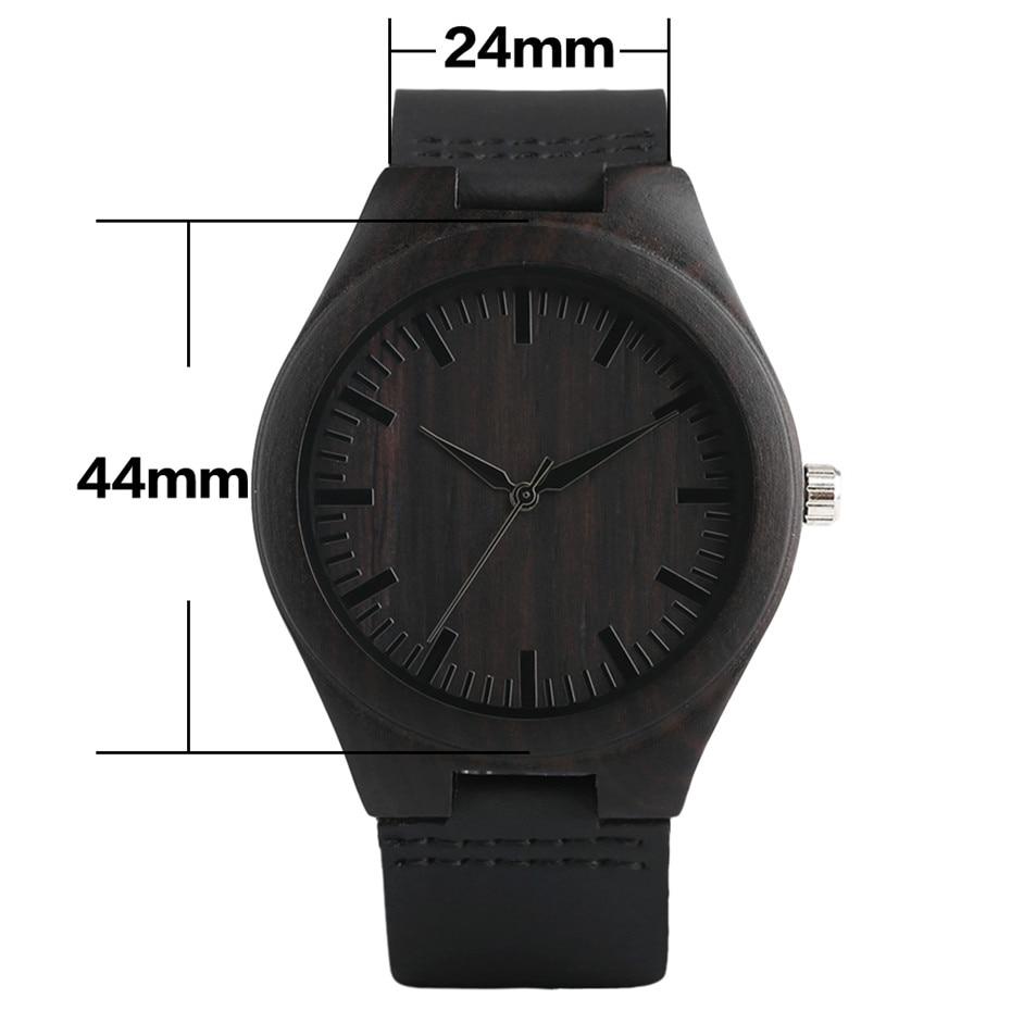 ebony watch wooden watch quartz mens black wood watches (5)