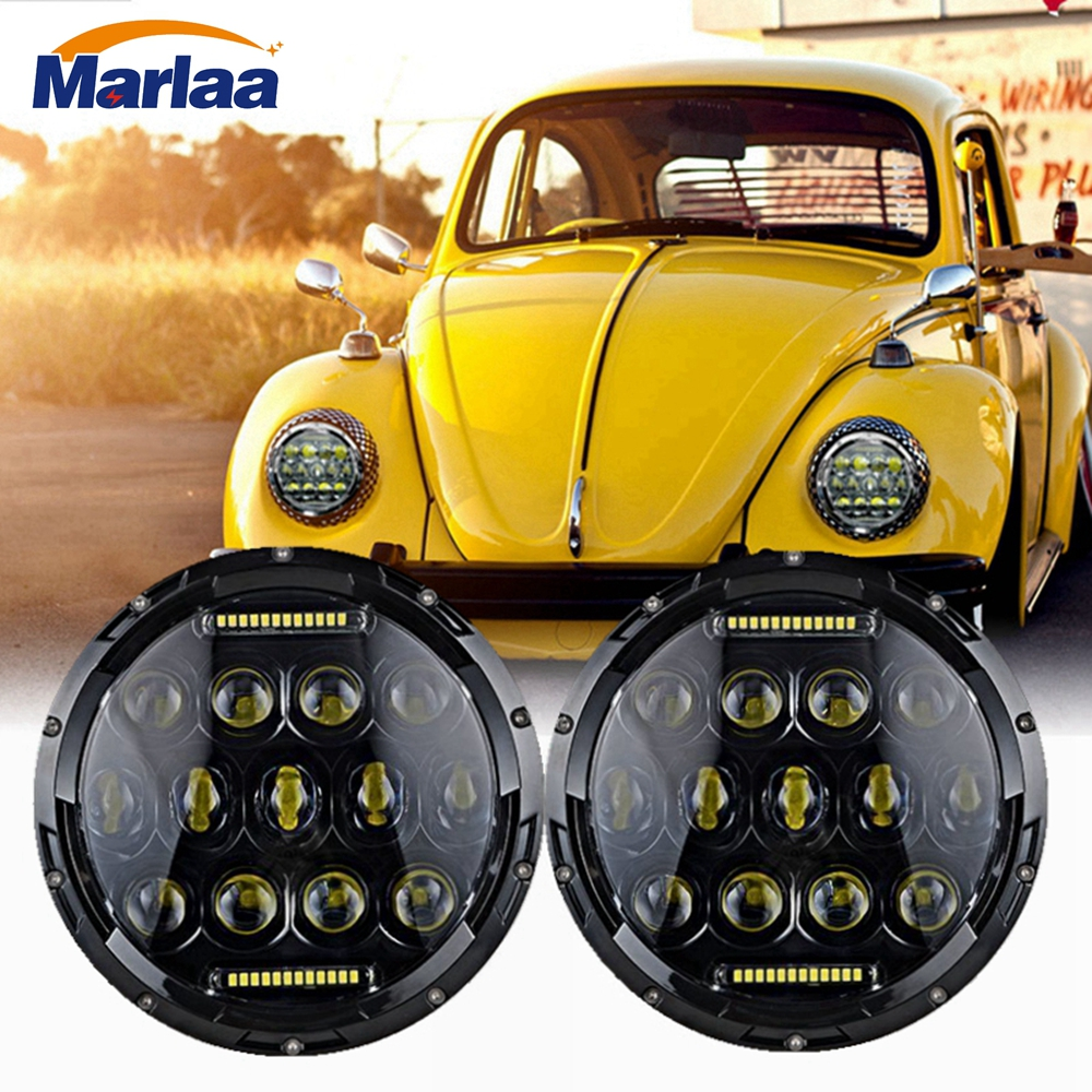 Marlaa 2pcs 7inch LED Headlights 75w For Lada 4x4 urban Niva For Beetle Classic 1950 1979