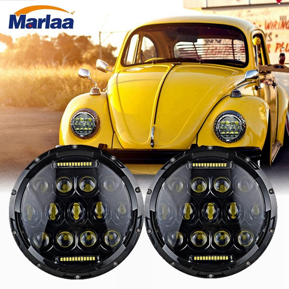 Marlaa 2pcs 7inch LED Headlights 75w For Lada 4x4 urban Niva For Beetle Classic 1950 1979
