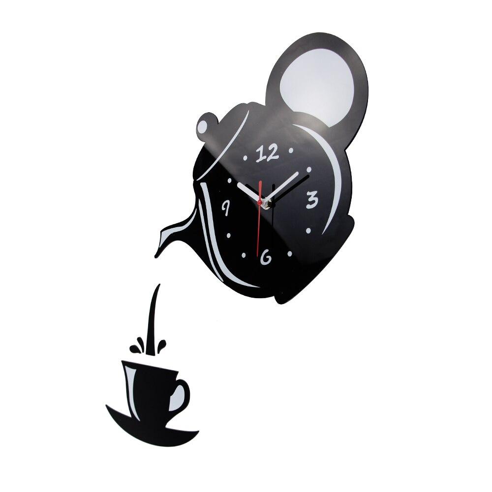 Neue Ankunft Wanduhr Spiegel Wirkung Kaffeetasse Form Dekorative ...