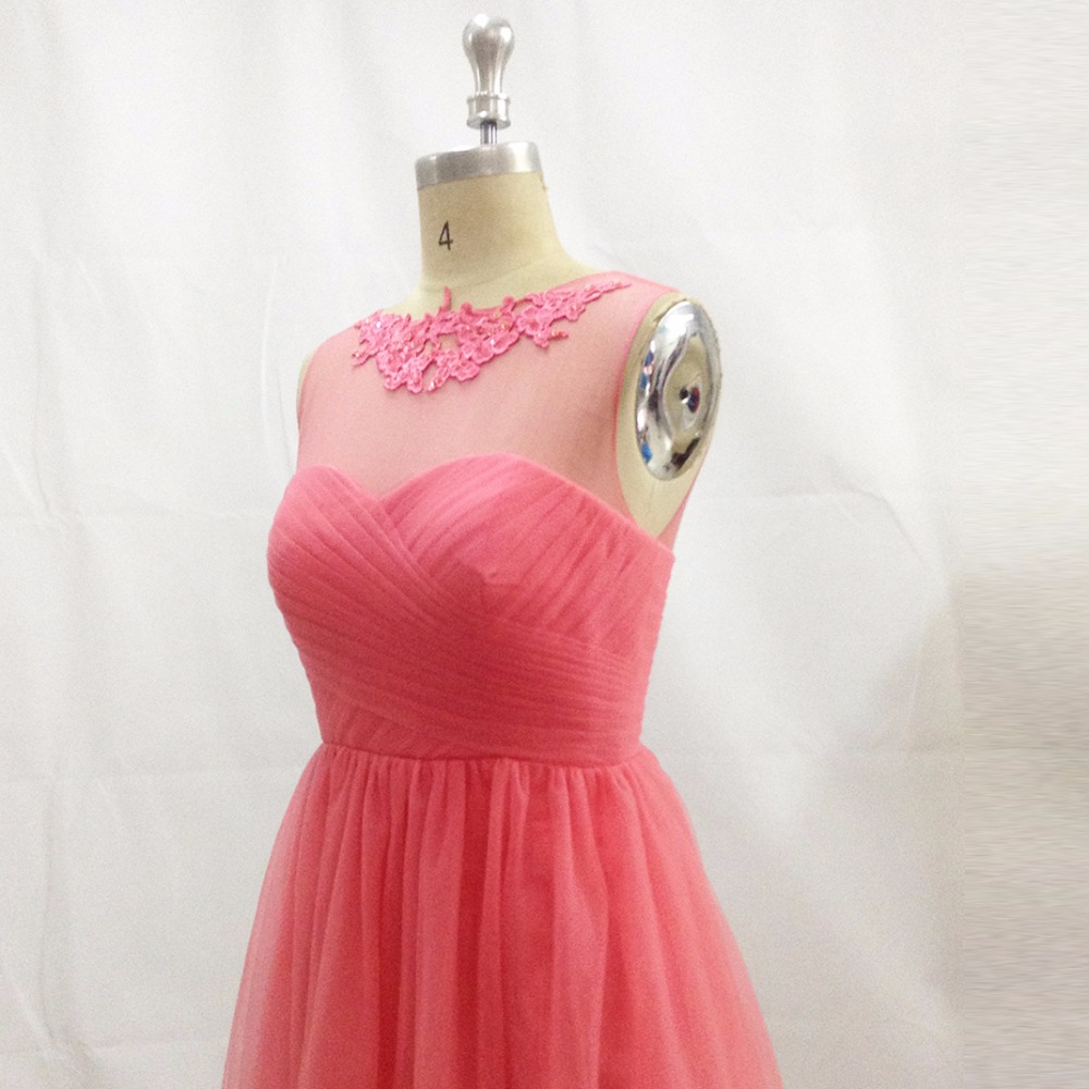Rose Pink Cheap Bridesmaid Dress Short Lace Wedding Guest Dresses ...