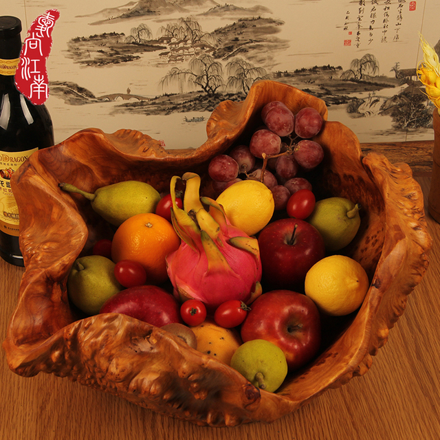 European Creative Fashion Large Fruit Bowl Dinner Gathering Wood Carving Wooden Candy Dish