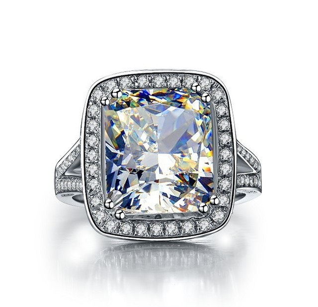 Cushion Big Stone Ring 8 CT NSCD Synthetic Diamond Engagement Rings for Women Fancy Jewelry Nice valentine Gift With Box
