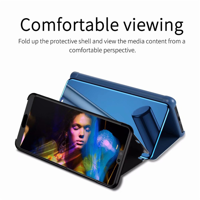 For Oneplus Nord Case Luxury Mirror Stand Leather Clear Smart View Flip 360 Full Cover Case for One Plus Nord Shockproof Fundas 3