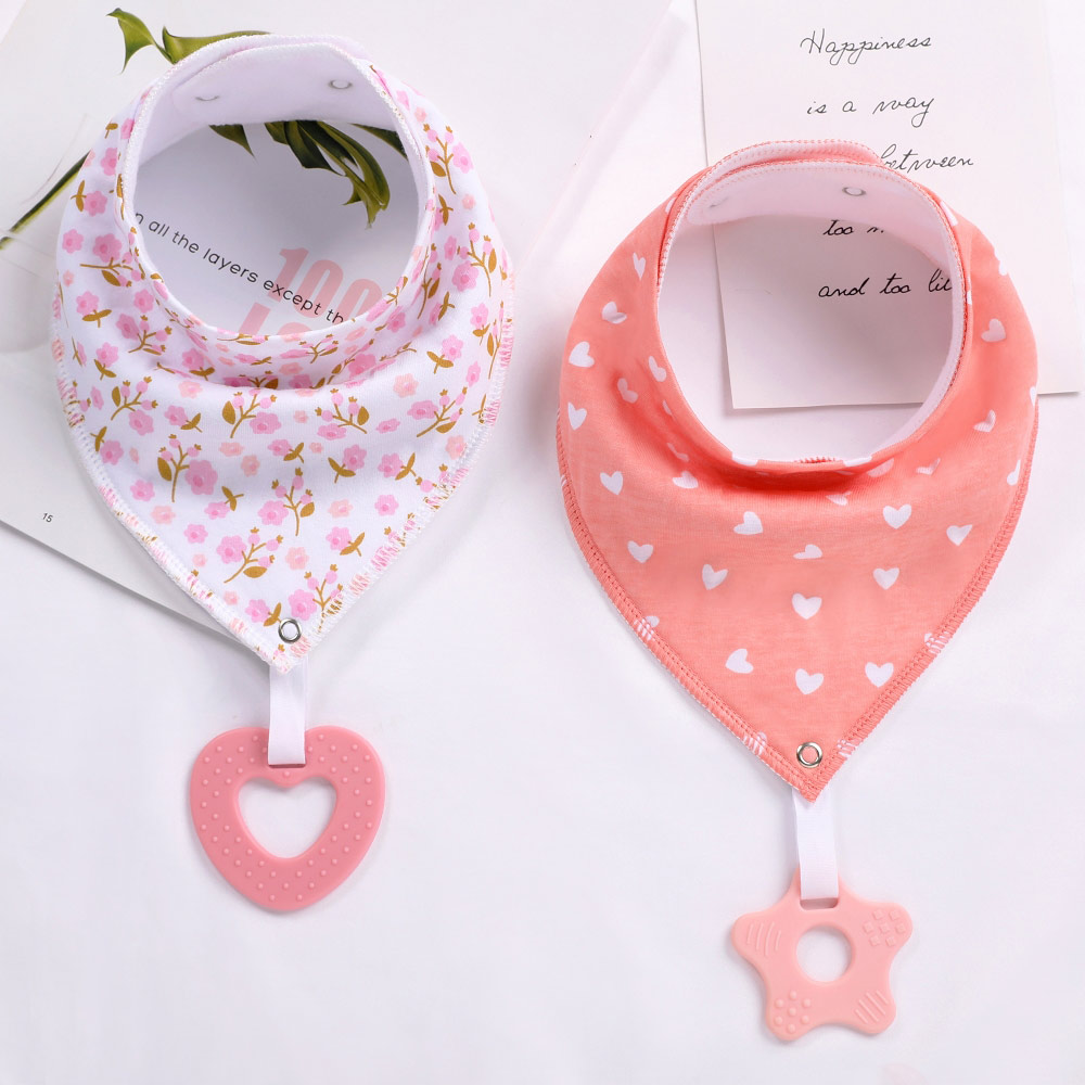 100% Organic Cotton Baby Bandana Drool Bibs and Teething Toys Super Absorbent and Soft Unisex Newborn Baby Bibs