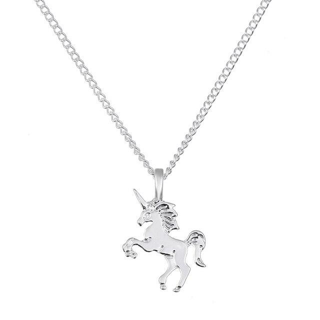 10 Pcs Gold Silver Unicorn Pendant Classic Horse Collarbone Chain