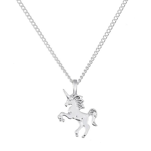nuovo arrivo 6b200 76b67 US $6.72 22% di SCONTO|10 PZ Oro Argento Ciondolo Classico Cavallo Unicorno  Della Clavicola Catena Pendente Collana Mano Timbrata Collana di Modo ...