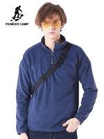Pioneer camp new fleece sweatshirt hoodies men brand clothing autumn winter half zipper collar warm male sweatshirts AWY801369A