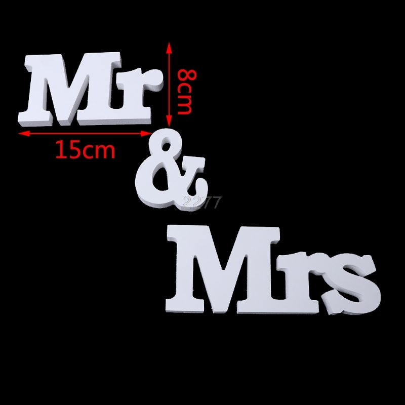 Свадебные украшения Mr & Mrs белые деревянные буквы знак для милая Таблица Декор MAY14 дропшиппинг