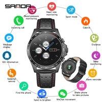 SANDA Leather Smart Watch CK23 IP67 Waterproof Heart Rate Monitor Blood Pressure Men Women Smartwatch For IOS Android Phone