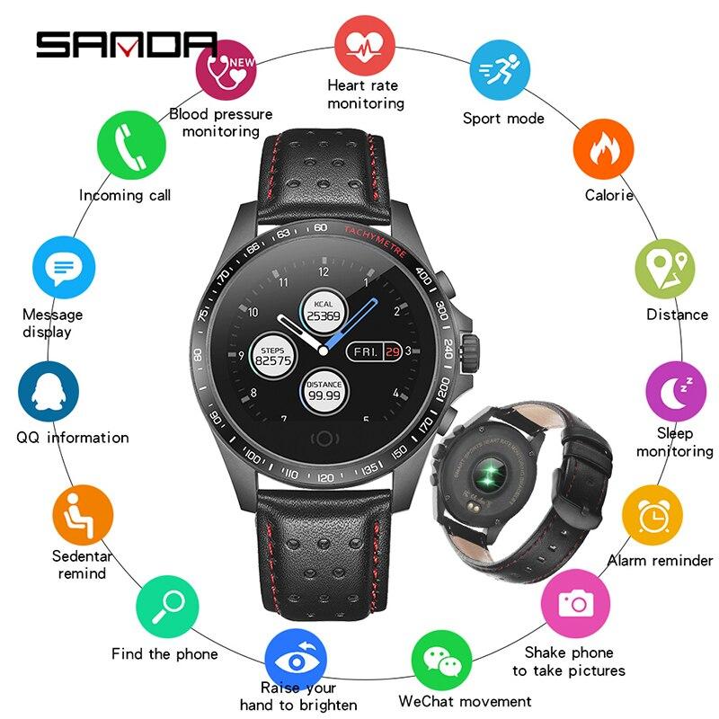 SANDA Lederen Smart Horloge CK23 IP67 Waterdichte Hartslagmeter Bloeddruk Mannen Vrouwen Smartwatch Voor IOS Android Telefoon-in Smart watches van Consumentenelektronica op  Groep 1