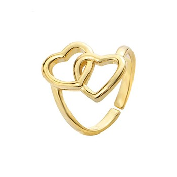 Rose Gold Color Adjustable Double Heart Entwined Ring For Women Jewelry Love Ring Couple Bridesmaids Girlfriend Best Friend Gift image