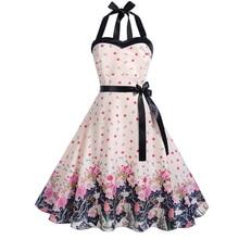4b83de70e Vintage Women Elegant Crossing Halter Party Dress Lobster Print dress High  Waist Sexy Ladies Above-