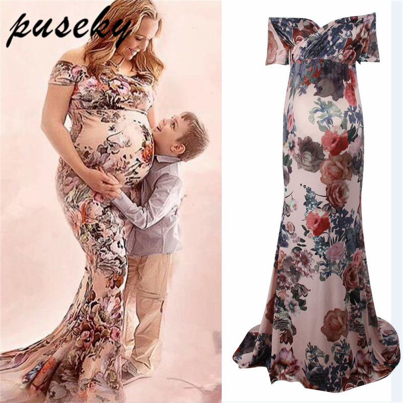 Puseky 2018 New Summer Women Floral Pregnants Dress Sexy Photography Props Dresse Long Maxi Off Shoulders V Neck Maternity Gown blue sexy plunge v neckline random floral print maxi dress