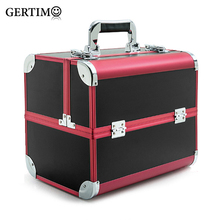 цены Aluminum Makeup Suitcase Portable Professional Foldable Cosmetic Bag Suitcases For Cosmetics Large Capacity Travel Makeup Box
